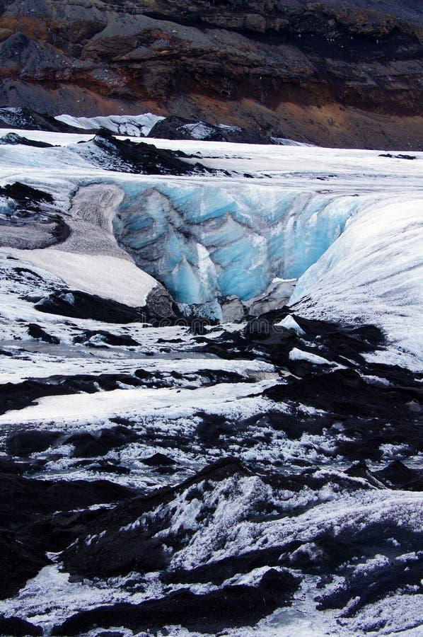 Glaciar de Solheimajokull cerca de Skaftafell en Islandia foto de archivo libre de regalías