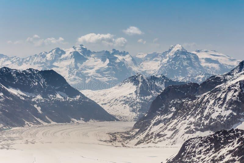 Glaciar en el Jungfraujoch, montañas suizas, Suiza de Aletsch fotos de archivo
