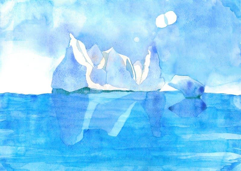 Glaciar en el océano stock de ilustración