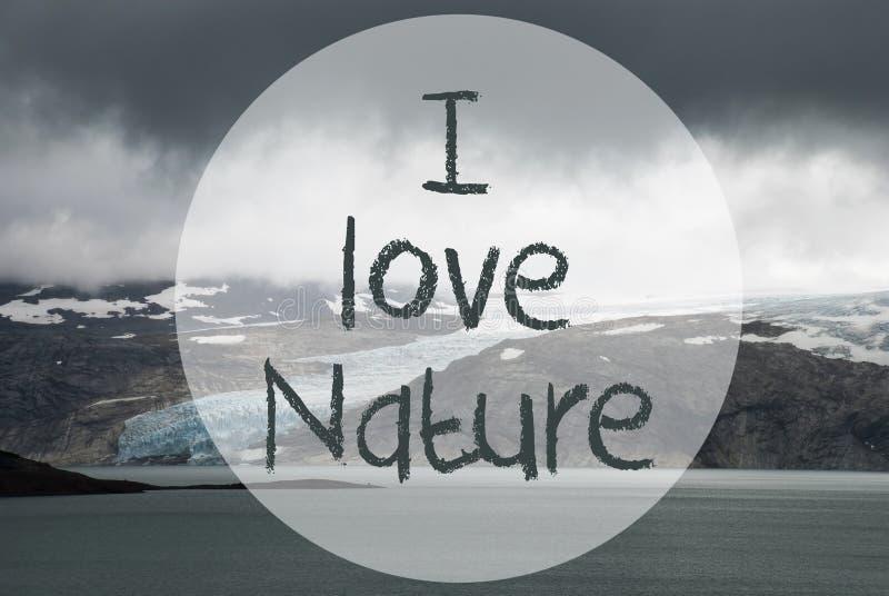 Glaciar, lago, texto yo naturaleza del amor, naturaleza de Noruega imagen de archivo libre de regalías