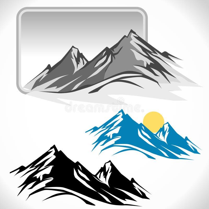 Glaciares asombrosos en picos de montaña stock de ilustración