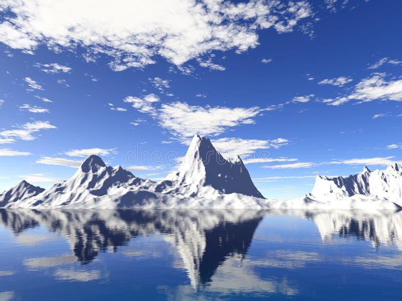 Glaciares de Alaska con la reflexión del agua stock de ilustración