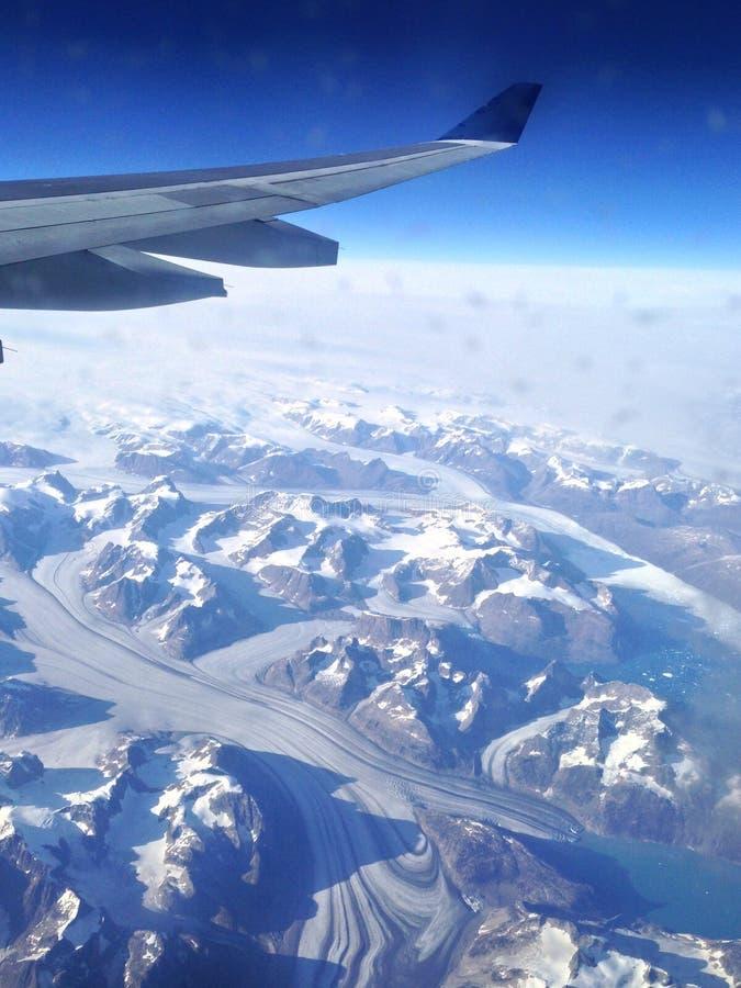 Glaciares sobre Groenlandia imagenes de archivo