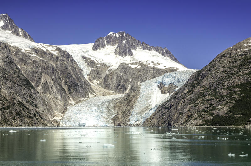 Glacier bay with clear blue sky royalty free stock photography