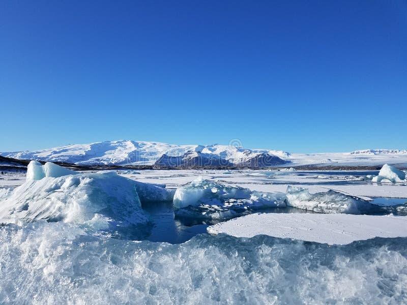 glacier blanc bleu en Islande photo stock