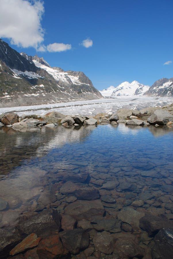 Glacier d'Aletsch avec le lac photographie stock libre de droits