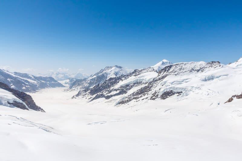 Glacier d'Aletsch dans le Jungfraujoch, Alpes, Suisse images stock