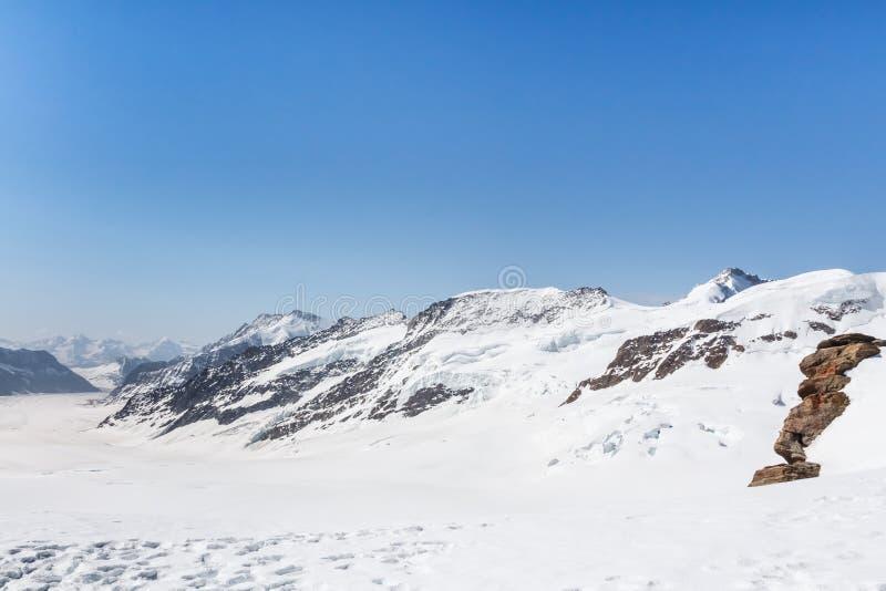 Glacier d'Aletsch dans le Jungfraujoch, montagne d'Alpes, Suisse photos stock
