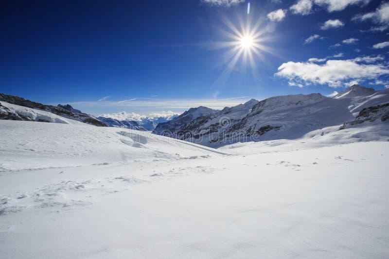 Glacier d'Aletsch dans les Alpes image libre de droits