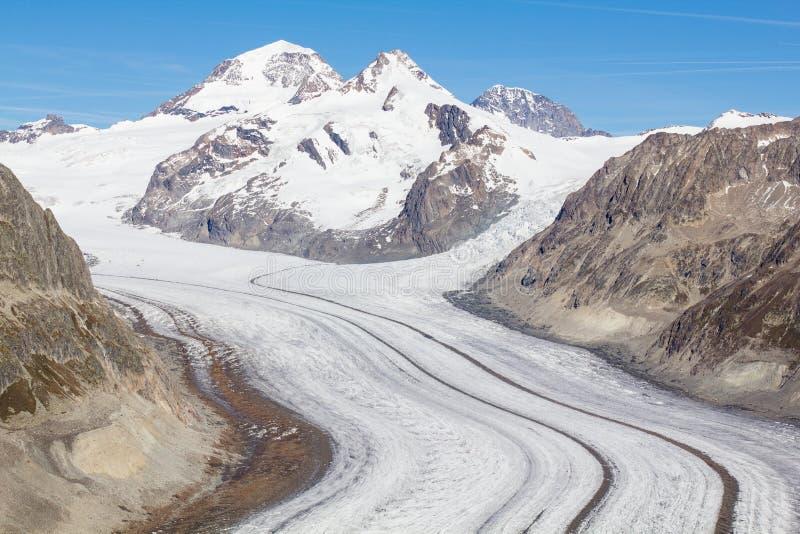 Glacier d'Aletsch dans les Alpes suisses image libre de droits