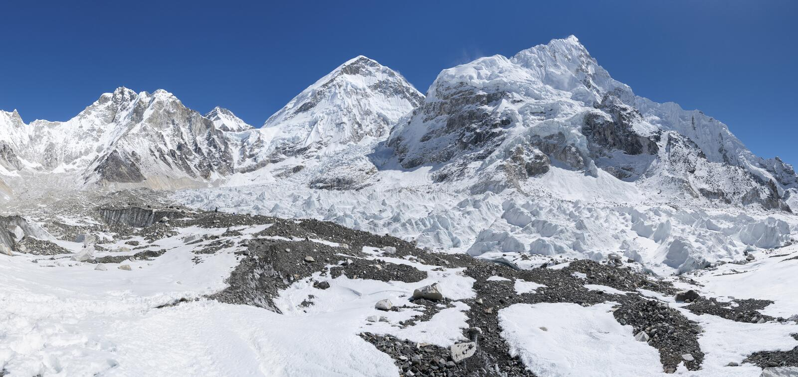 Glacier de Khumbu et secteur de camp de base d'Everest photos stock