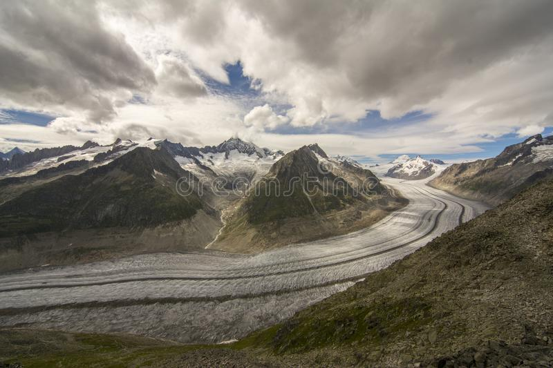 Glacier details. Details on the Aletsch glacier. Glaciers worldwide are melting at an alarming rate and Aletsch glacier is no exception royalty free stock image