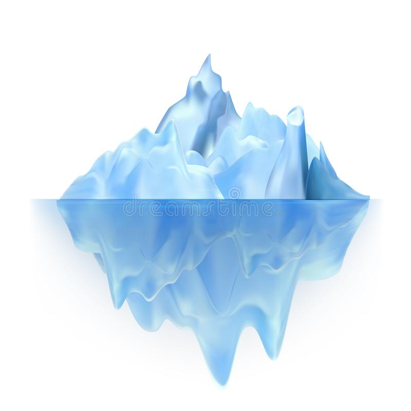 Glacier Floating On Antarctic Water Waves Vector. Cool Glacier Berg With Underwater Part And Icecap. Marine Ice Chunk Hiding Threat, Dangerous And Ecosystem stock illustration
