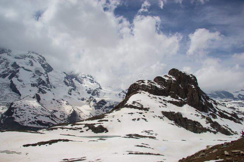 Glacier at gornergrat station, zermatt, switzerland royalty free stock photo
