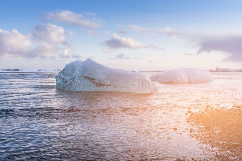 Glacier Ice breaking on diamond beach, Iceland stock image