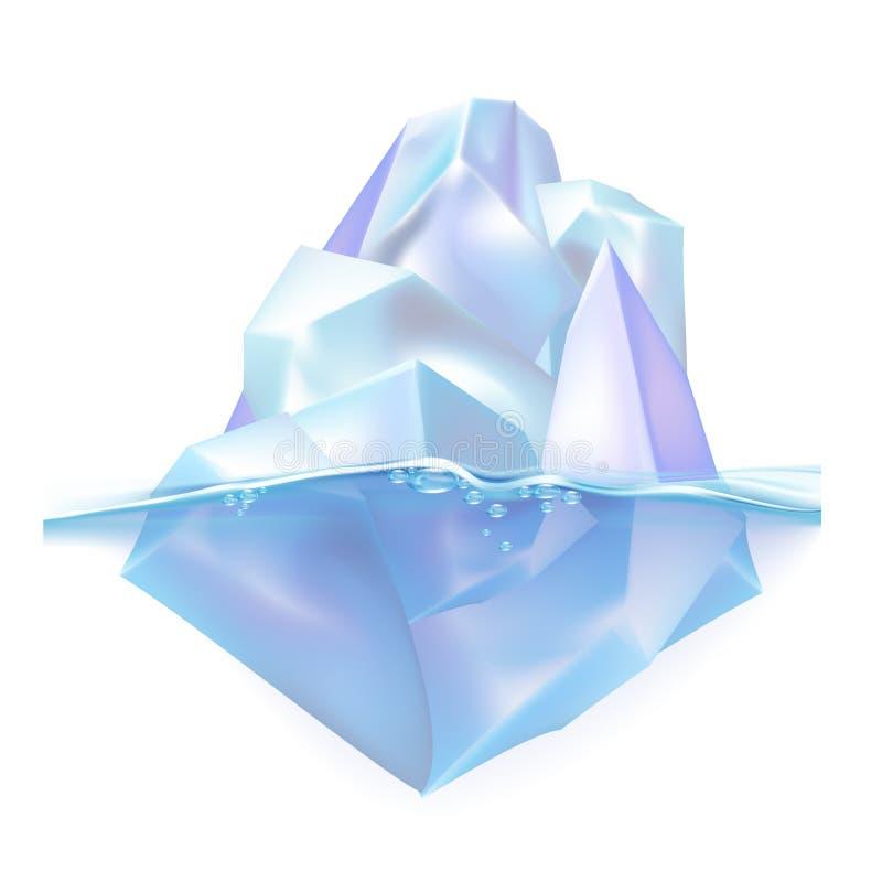 Glacier Iceberg Float On Ocean Water Waves Vector royalty free illustration