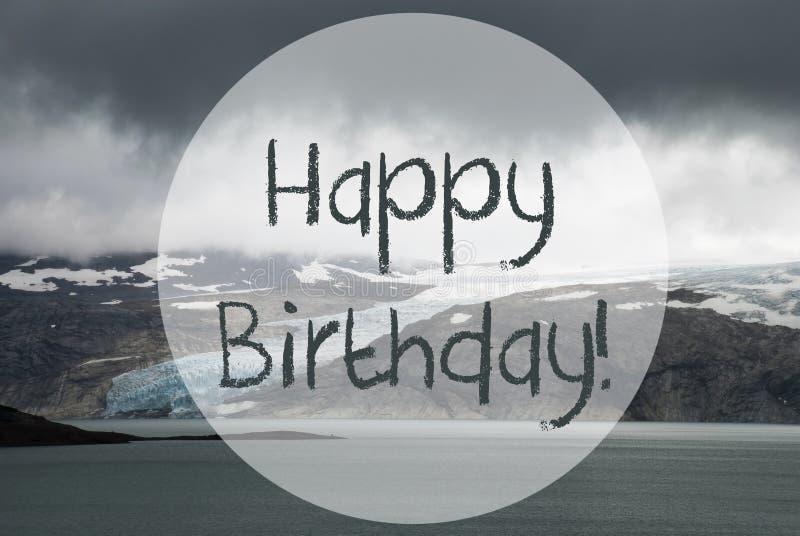 Glacier, lac, joyeux anniversaire des textes, Norvège, scène approximative de nature photographie stock