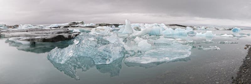 Glacier lagoon in Jokulsarlon, Iceland. Panorama Icebergs in the glacier lagoon in Jokulsarlon Iceland stock image