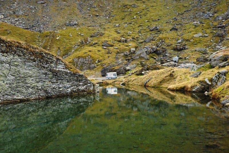 The glacier lake Balea on the Transfagarasan road royalty free stock photography