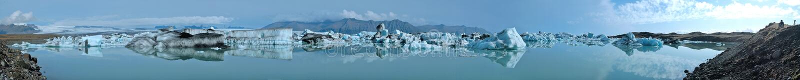Glacier Lake Panorama. Jokulsarlon Iceland (180 Degree Panorama stock photos