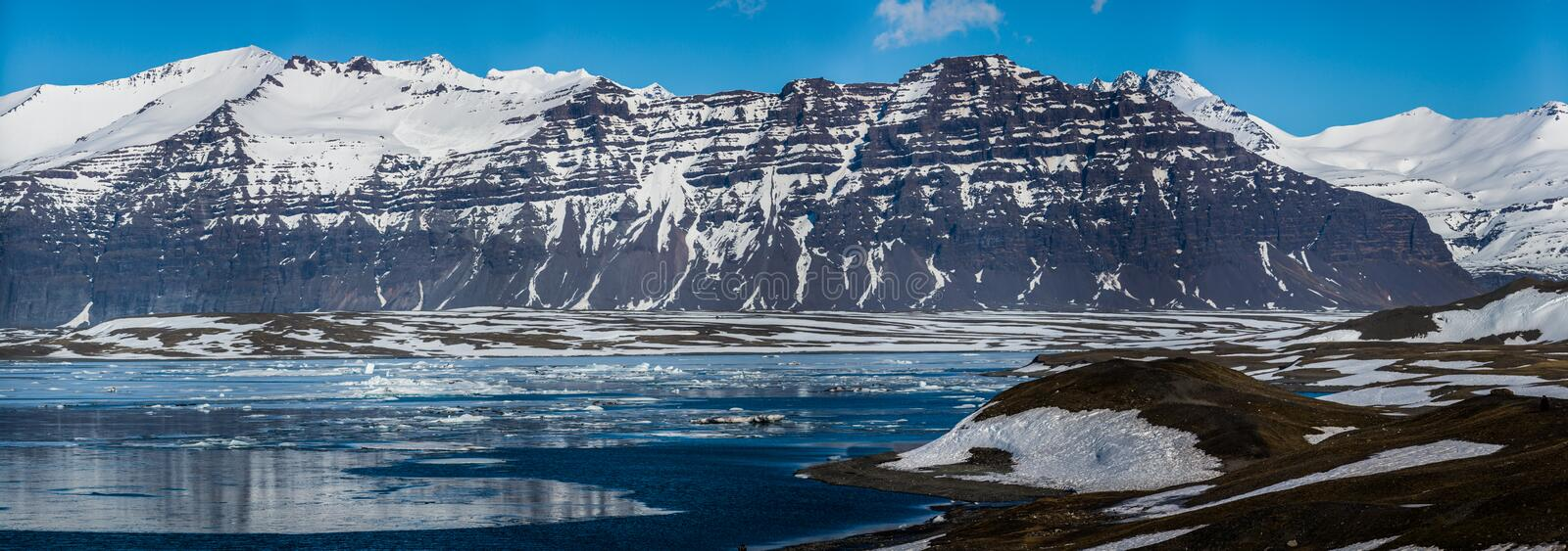 Glacier landscape in Arctic. Panoramic royalty free stock photos