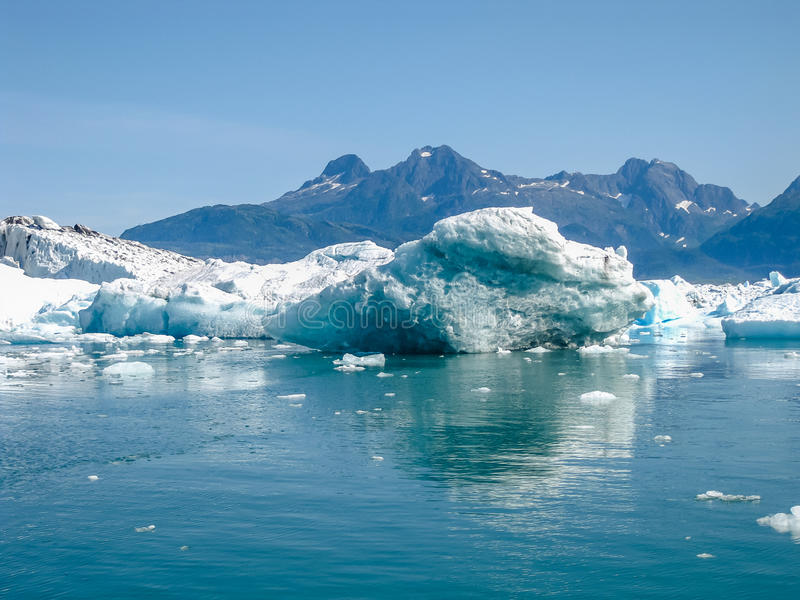 Sea of ice. Sea covered with floating ice seen from the cruise in Alaska Marine Highway, Prince William Sound in summer. Alaska, Usa stock images