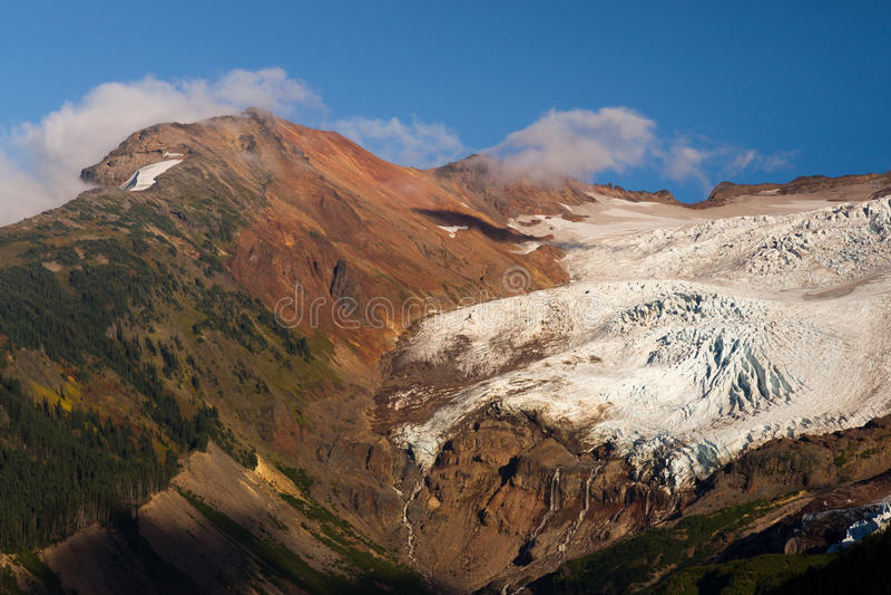 Glacier Melting Heliotrope Ridge Waterfall Alpine Ridge Mt Baker royalty free stock photo