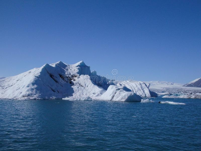Nature Color Blue Icebergs Floating On Natural Blue Lake And Glaciers View stock image