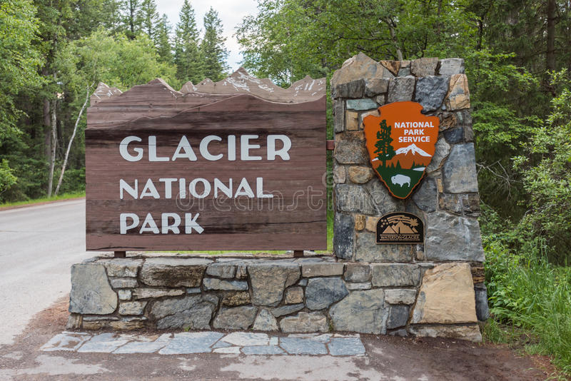 Glacier National Park West Entrance. Whitefish, United States: June 25th, 2016. Entrance to the west side of Glacier National Park in Montana royalty free stock photo