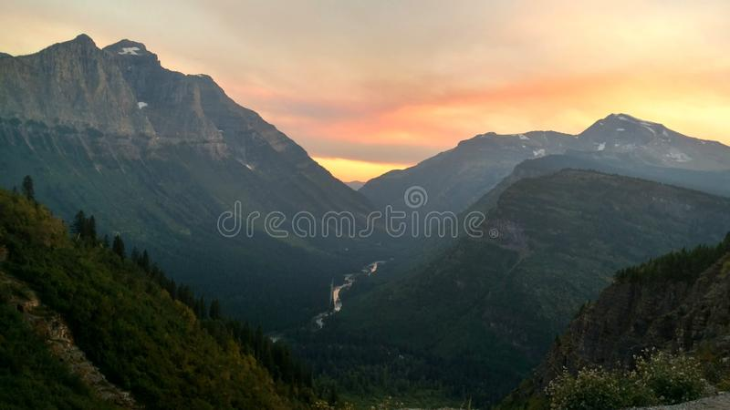 Glacier Park sunset stock photo