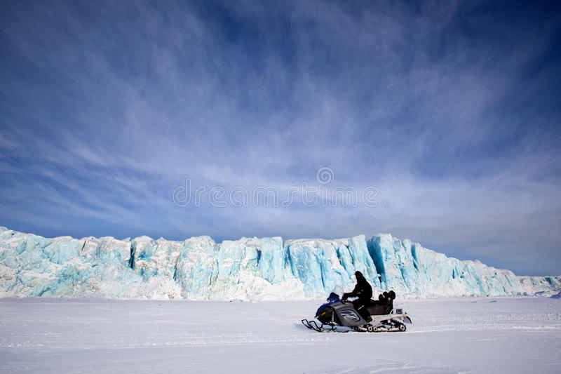 Glacier with Snowmobile stock photography