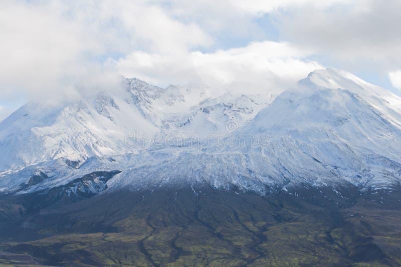 Glacier top of mount Saint Helens. Volcano mount Saint Helens decapitated top with glacier in clouds stock photography