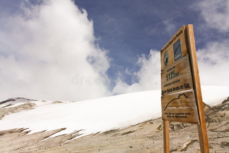 Glacier Volcano Nevado del Ruiz signboard royalty free stock photography