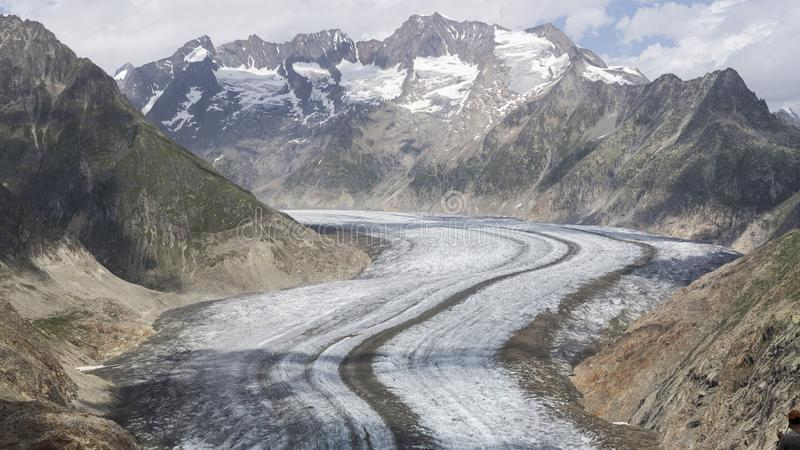 Aletsch glacier. Glaciers are melting at an alarming rate as seen in Aletsch glacier, Valais, Switzerland stock photography