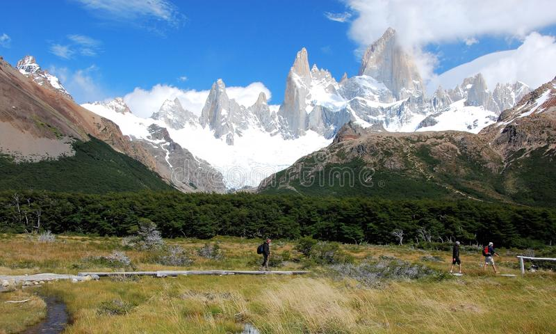 Glaciers National Park, View of Mount Fitz Roy, Argentina. Hiking in Los Glaciares National Park, View of Mount Fitz Roy, marsh grassland, lake, clouds, Southern stock image