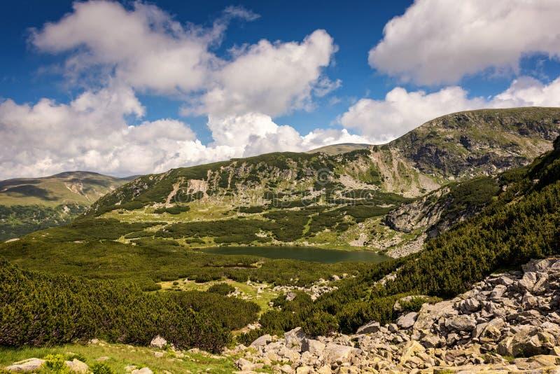 Glacjalna halna dolina w lecie z jeziorem i roślinnością zdjęcie stock