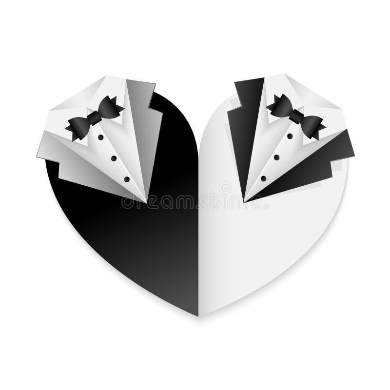 Glad affisch för parbröllopkort - svartvit kombination - form av hjärta stock illustrationer