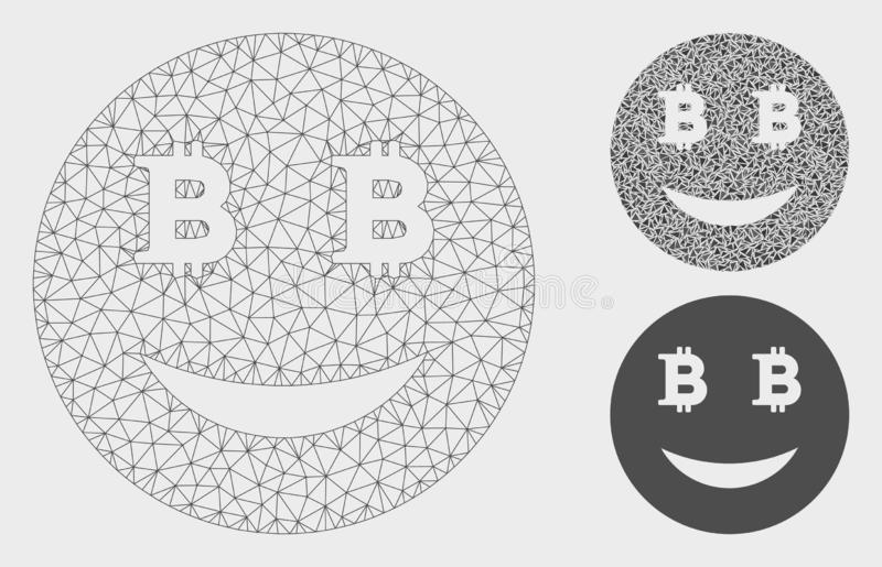 Glad Bitcoin Smiley Vector Mesh Wire Frame Model and Triangle Mosaic Icon. Mesh glad Bitcoin smiley model with triangle mosaic icon. Wire carcass triangular mesh royalty free illustration