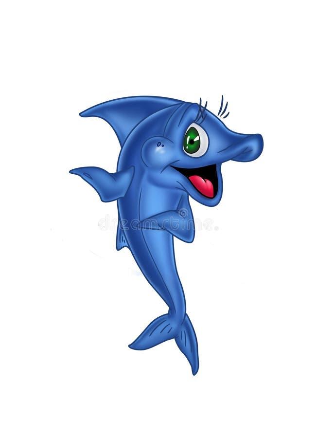 Glad blue fish. Invites gesture royalty free illustration