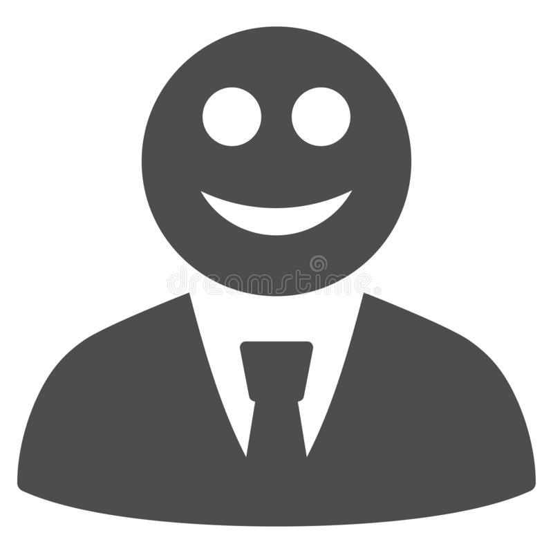 Glad Boss Flat Icon. Glad boss raster pictograph. Style is flat graphic gray symbol stock illustration