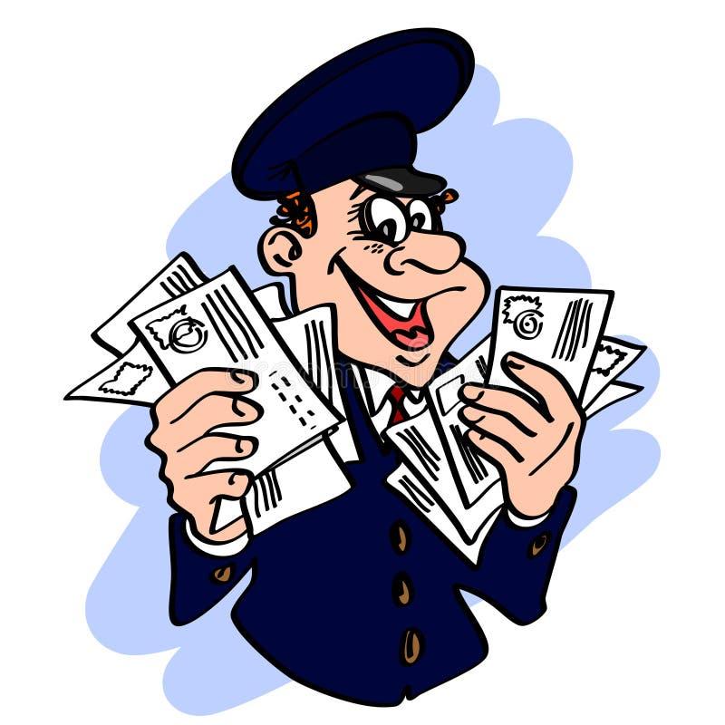 Glad brevbärare i det blåa locket med bokstäverna i hans händer vektor illustrationer