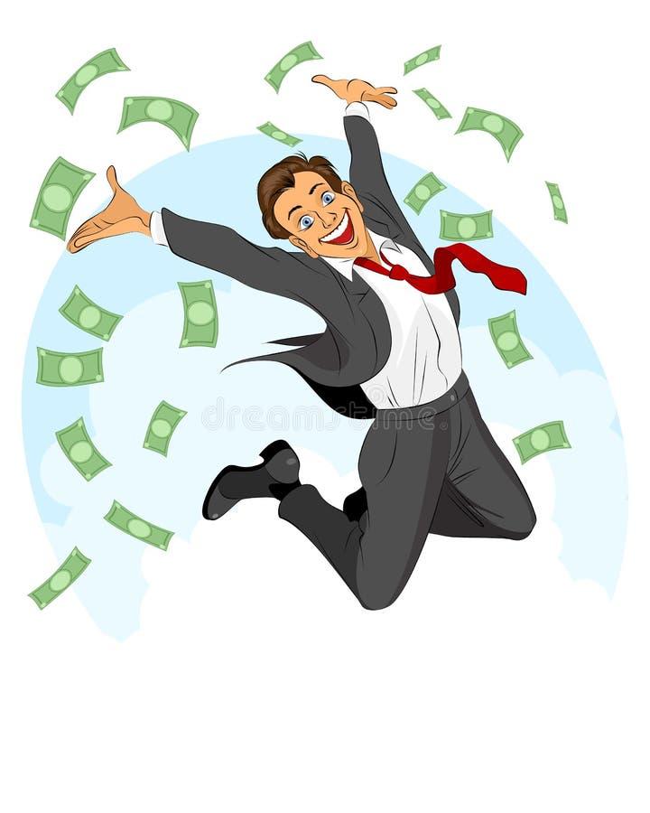Glad businessman jumping. Vector illustration of glad businessman jumping stock illustration