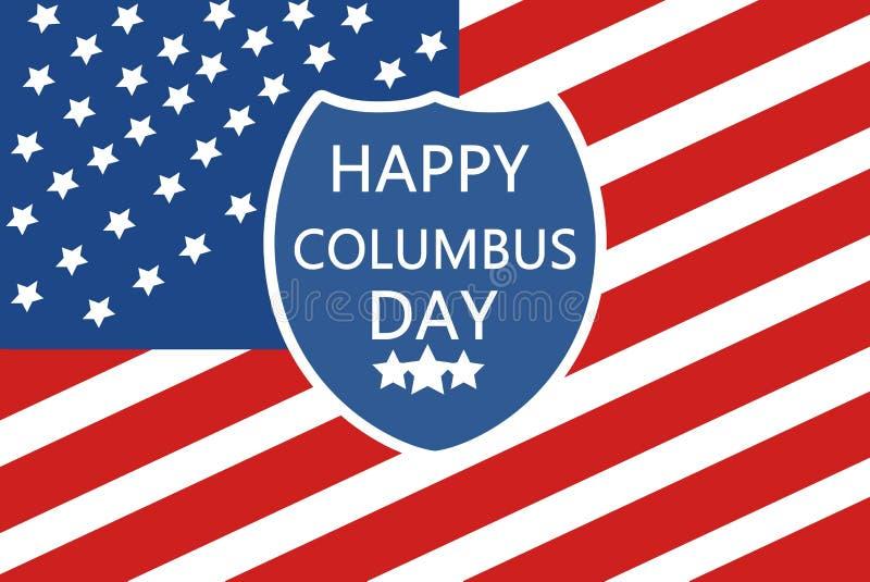 Glad Columbus-dag på skölden Illustrationsskydd mot bakgrund av Förenta staternas flagga emot arkivfoton