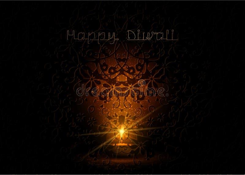 Glad Diwali indisk ljusfestivalmall för hälsningskort Hindu Diwali firande, guld ljusflamma svart natt vektor illustrationer