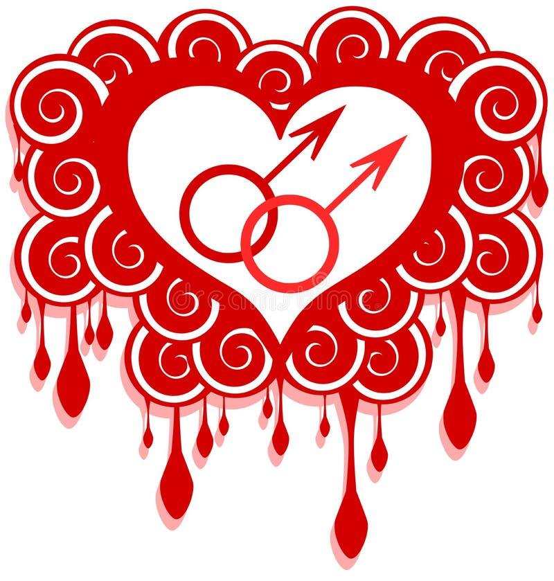 Glad förälskelsebegreppsillustration i rött stock illustrationer