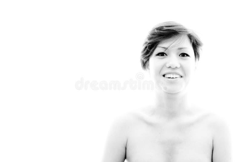 Glad förvånad kvinna Orientering med den emotionella sinnliga modellen arkivbilder