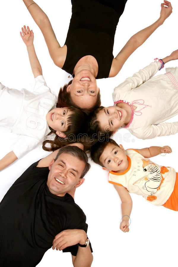 glad familj arkivfoto