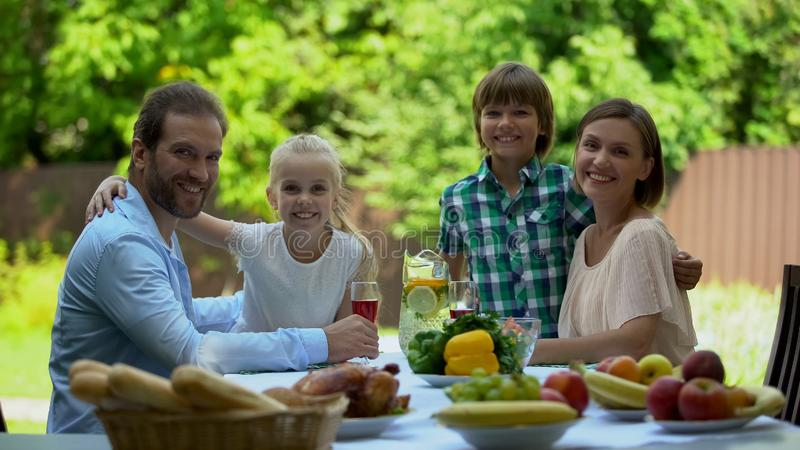 Glad family resting at villa spending time together, adoption program, happiness stock photo