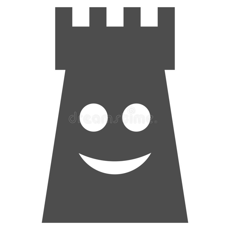 Glad Fort Tower Flat Icon. Glad fort tower raster pictogram. Style is flat graphic gray symbol stock illustration