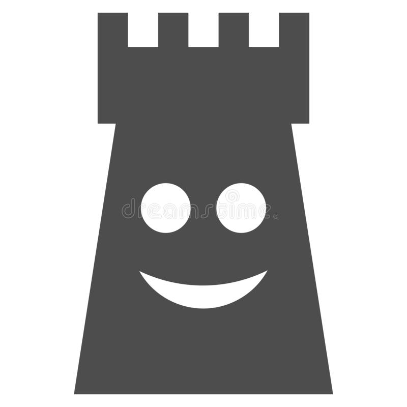Glad Fort Tower Flat Icon. Glad fort tower vector icon. Style is flat graphic gray symbol royalty free illustration